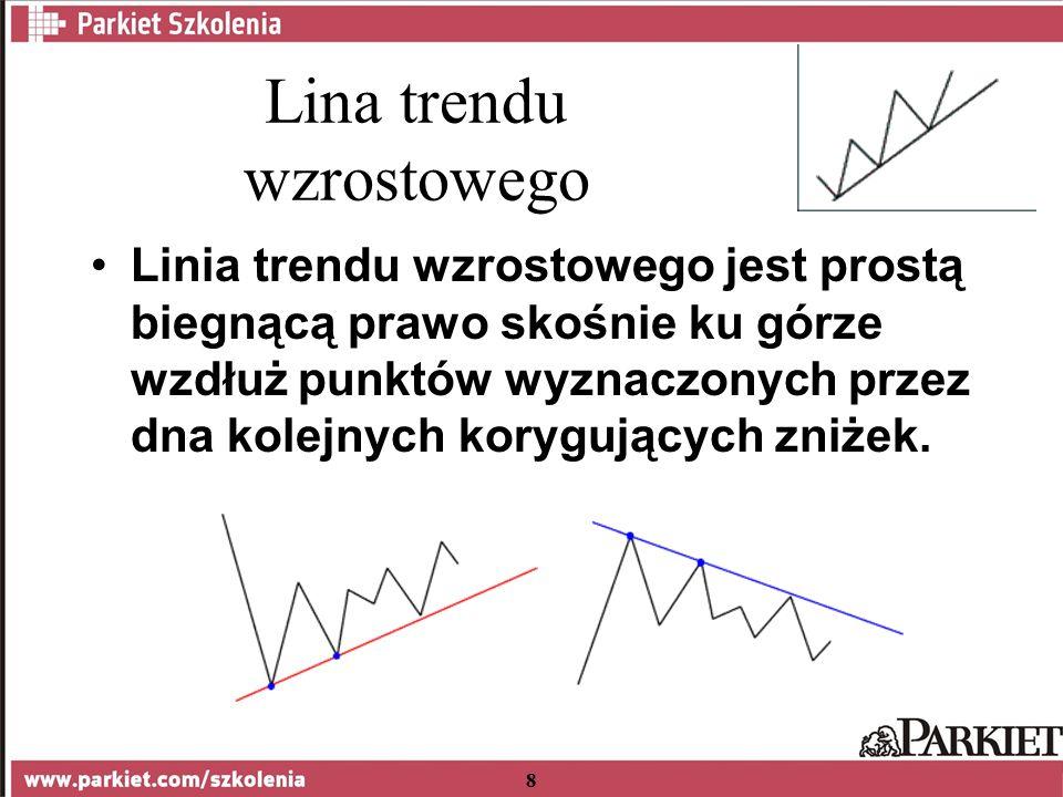 8 Lina trendu wzrostowego Linia trendu wzrostowego jest prostą biegnącą prawo skośnie ku górze wzdłuż punktów wyznaczonych przez dna kolejnych korygujących zniżek.