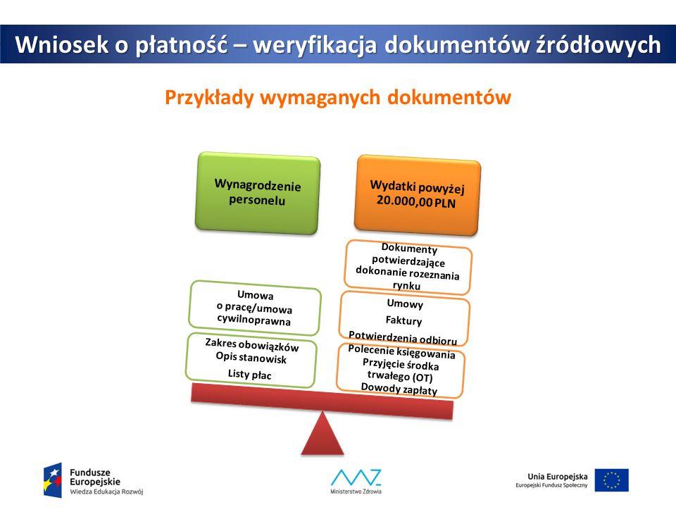 Przykłady wymaganych dokumentów 21 Wniosek o płatność – weryfikacja dokumentów źródłowych Wynagrodzenie personelu Wydatki powyżej 20.000,00 PLN Polecenie księgowania Przyjęcie środka trwałego (OT) Dowody zapłaty Umowy Faktury Potwierdzenia odbioru Dokumenty potwierdzające dokonanie rozeznania rynku Zakres obowiązków Opis stanowisk Listy płac Umowa o pracę/umowa cywilnoprawna