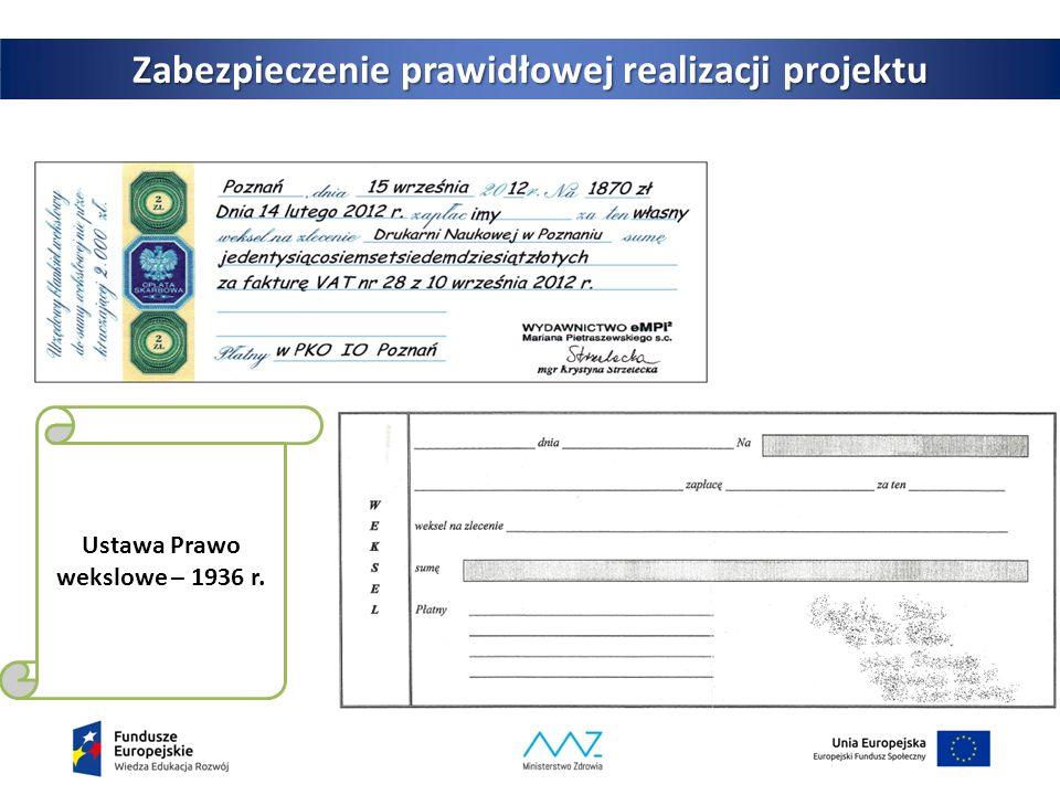 3 Zabezpieczenie prawidłowej realizacji projektu Ustawa Prawo wekslowe – 1936 r.