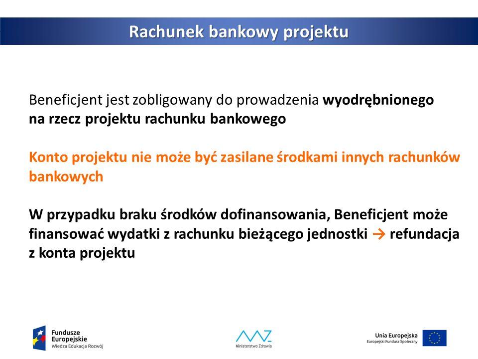 Beneficjent jest zobligowany do prowadzenia wyodrębnionego na rzecz projektu rachunku bankowego Konto projektu nie może być zasilane środkami innych rachunków bankowych W przypadku braku środków dofinansowania, Beneficjent może finansować wydatki z rachunku bieżącego jednostki → refundacja z konta projektu 4 Rachunek bankowy projektu