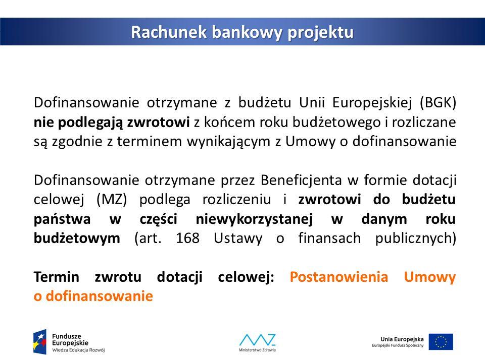 Dofinansowanie otrzymane z budżetu Unii Europejskiej (BGK) nie podlegają zwrotowi z końcem roku budżetowego i rozliczane są zgodnie z terminem wynikającym z Umowy o dofinansowanie Dofinansowanie otrzymane przez Beneficjenta w formie dotacji celowej (MZ) podlega rozliczeniu i zwrotowi do budżetu państwa w części niewykorzystanej w danym roku budżetowym (art.