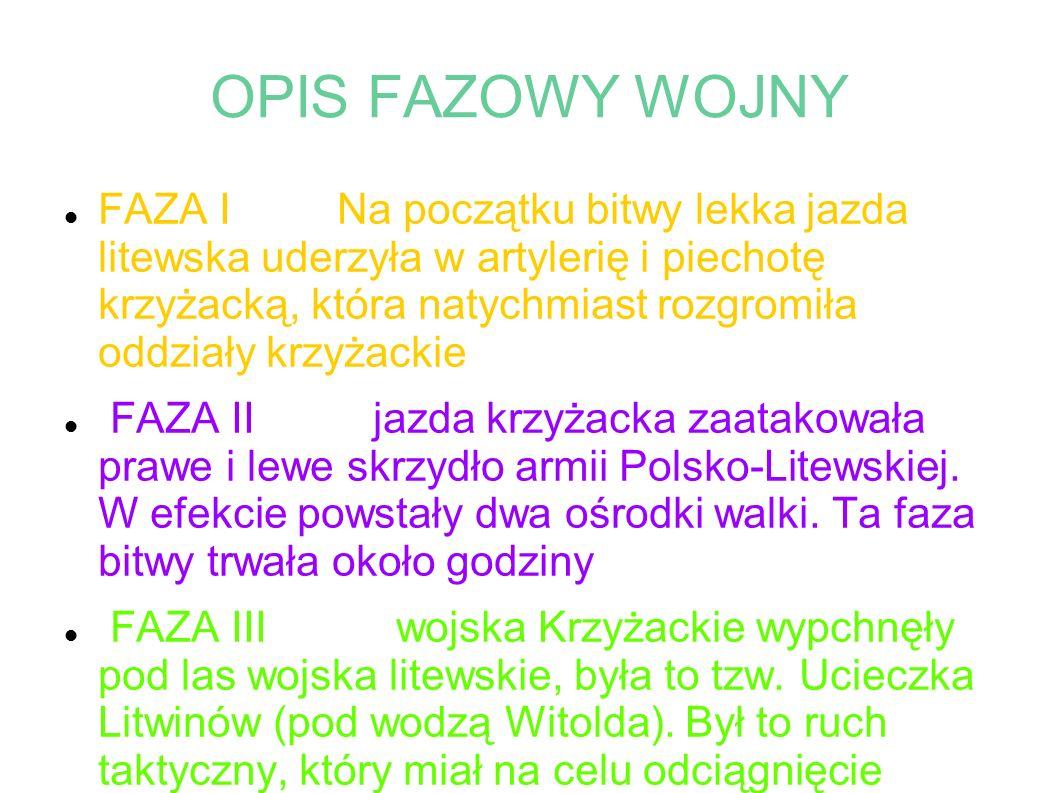 OPIS FAZOWY WOJNY FAZA I Na początku bitwy lekka jazda litewska uderzyła w artylerię i piechotę krzyżacką, która natychmiast rozgromiła oddziały krzyżackie FAZA II jazda krzyżacka zaatakowała prawe i lewe skrzydło armii Polsko-Litewskiej.