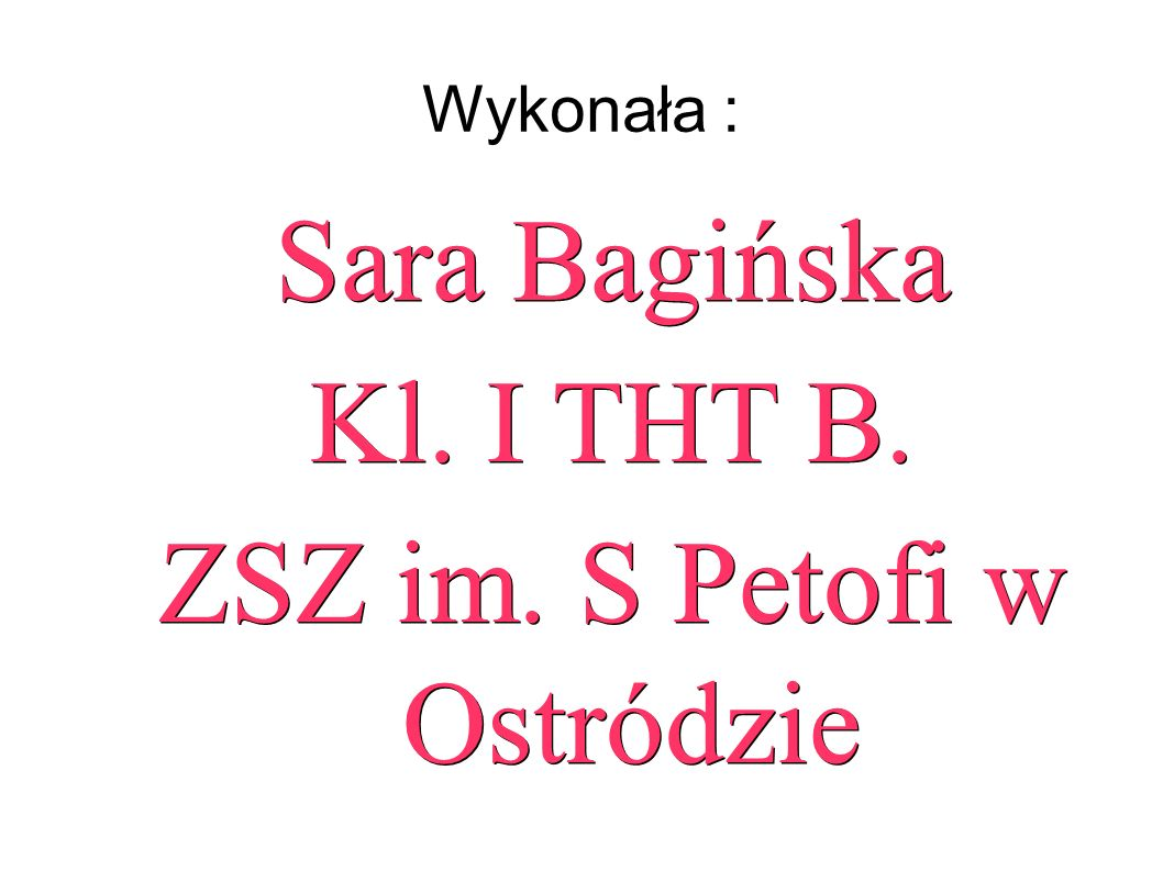 Wykonała : Sara Bagińska Kl. I THT B. ZSZ im. S Petofi w Ostródzie