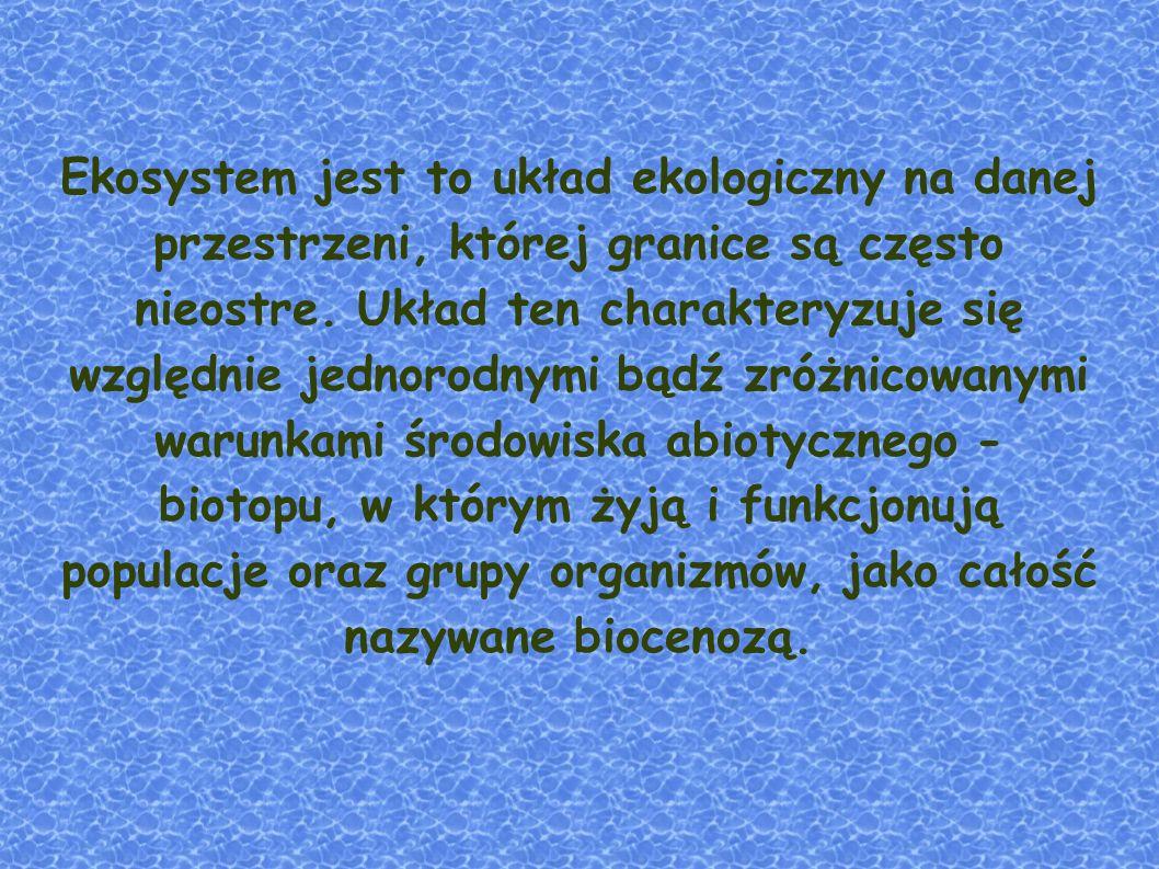 Ekosystem jest to układ ekologiczny na danej przestrzeni, której granice są często nieostre.