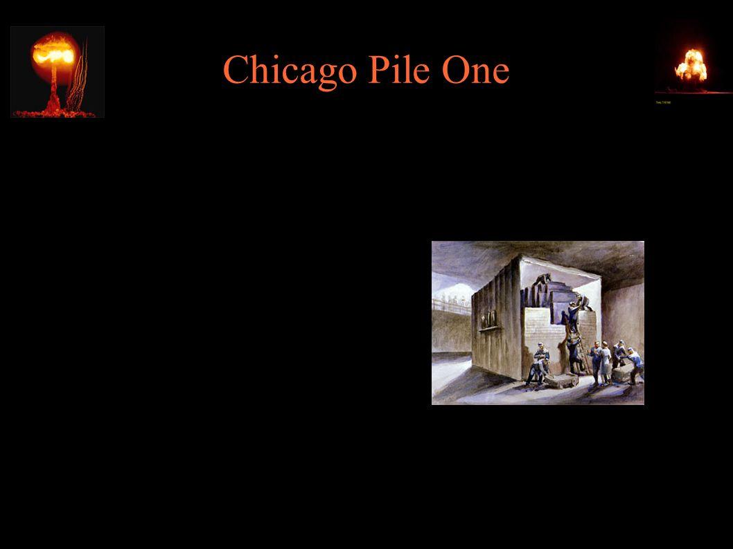 """Chicago Pile One ● 6m wysokości, 6.5m średnicy ● 5.6t uranu metalicznego ● 36.6t tlenku uranu ● 350t grafitu wysokiej czystości (moderatora) ● Moc 0.5W ● koszt 1mln$ ● """"Kwadratowy balon Goodyeara"""