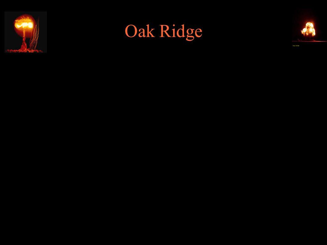 Oak Ridge ● S-50 – instalacja wzbogacania uranu metodą dyfucji cieczy ● K-25 – instalacja wzbogacania uranu metodą dyfucji gazowej; największy (wtedy) budynek świata (800x300m), 12000 pracowników, koszt 500mln $ ● 4.11.1943 – uruchomienie X-10 – reaktora powielającego do produkcji plutonu