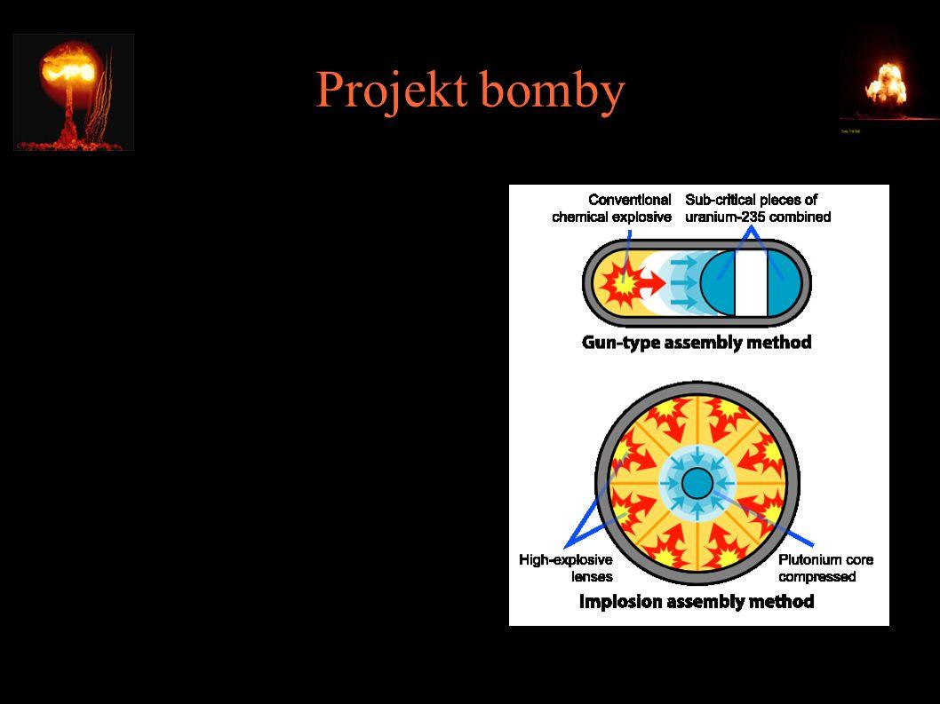 """Projekt bomby ● Dwa warianty - """"gun-type i """"implosion ● Kwestia masy krytycznej (15kg dla U-235, 10kg dla Pu- 239) ● Reflektor neutronowy redukuje masę krytyczną Pu- 239 do 5kg"""