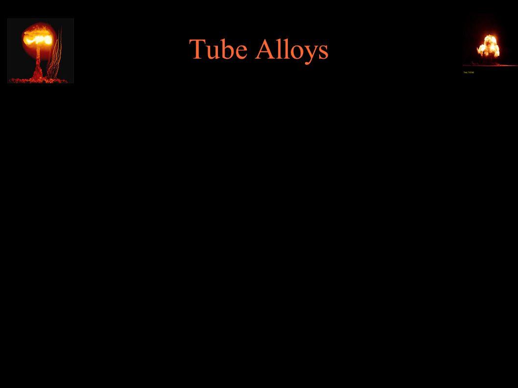 Tube Alloys ● Tube Alloys – kryptonim brytyjskiego projektu nuklearnego ● 19.08.1943 – Quebec Agreement: pełna wymiana informacji między UK, Kanadą i USA, wcielenie projektu Tube Alloys do Manhattan Project ● 1.08.1946 - Atomic Energy Act (McMahon Act): całkowite utajnienie badań jądrowych, w tym przed sojusznikami