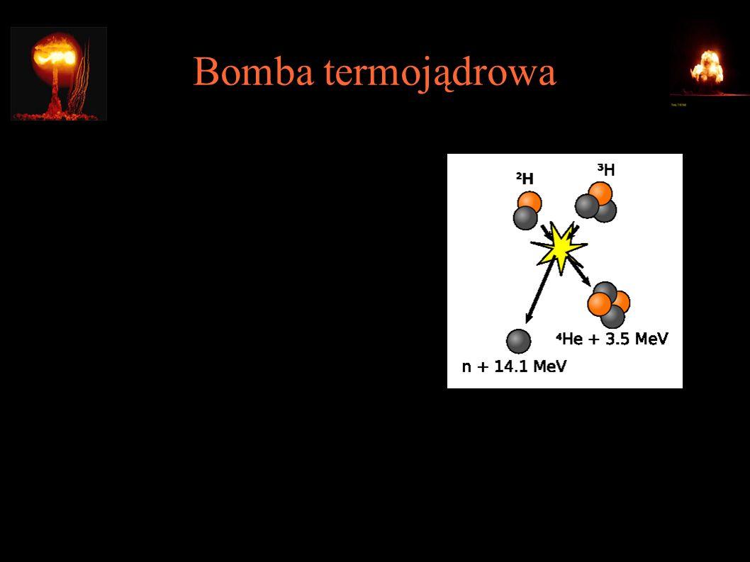 Bomba termojądrowa ● W klasycznej bombie jądrowej fizyka ogranicza maksymalną energię wybuchu – nie można po prostu dołożyć więcej materiału rozszczepialnego, bo nie weźmie udziału w reakcji ● Bomba termojądrowa wykorzystuje reakcję syntezy lekkich jąder, dającą o wiele więcej energii z kilograma