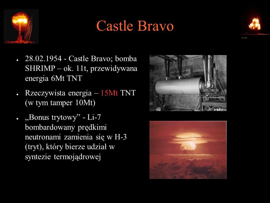 Castle Bravo ● 28.02.1954 - Castle Bravo; bomba SHRIMP – ok. 11t, przewidywana energia 6Mt TNT ● Rzeczywista energia – 15Mt TNT (w tym tamper 10Mt) ●