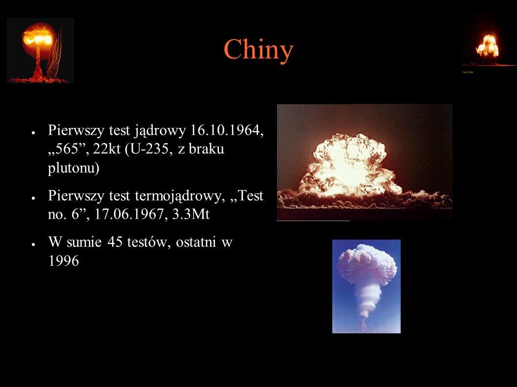 """Chiny ● Pierwszy test jądrowy 16.10.1964, """"565"""", 22kt (U-235, z braku plutonu) ● Pierwszy test termojądrowy, """"Test no. 6"""", 17.06.1967, 3.3Mt ● W sumie"""