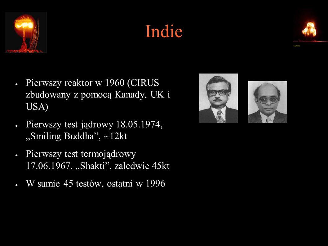 """Indie ● Pierwszy reaktor w 1960 (CIRUS zbudowany z pomocą Kanady, UK i USA) ● Pierwszy test jądrowy 18.05.1974, """"Smiling Buddha , ~12kt ● Pierwszy test termojądrowy 17.06.1967, """"Shakti , zaledwie 45kt ● W sumie 45 testów, ostatni w 1996 ● Raja Ramanna, dyrektor Bhabha Atomic Research Center ● Rajagopala Chidambaram, kierownik projektu"""
