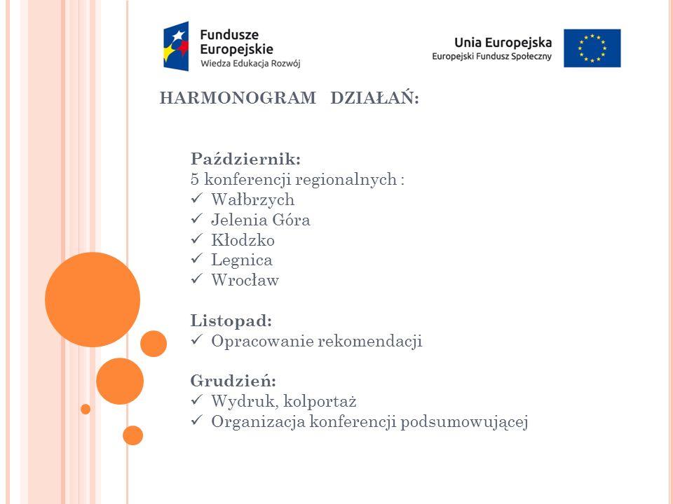 HARMONOGRAM DZIAŁAŃ: Październik: 5 konferencji regionalnych : Wałbrzych Jelenia Góra Kłodzko Legnica Wrocław Listopad: Opracowanie rekomendacji Grudz