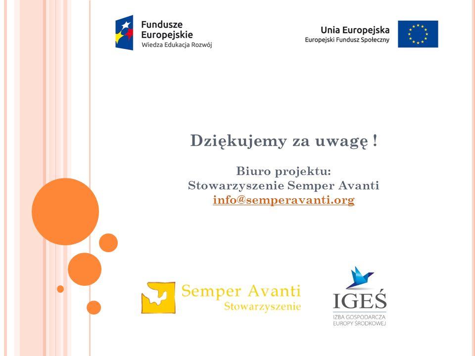 Dziękujemy za uwagę ! Biuro projektu: Stowarzyszenie Semper Avanti info@semperavanti.org