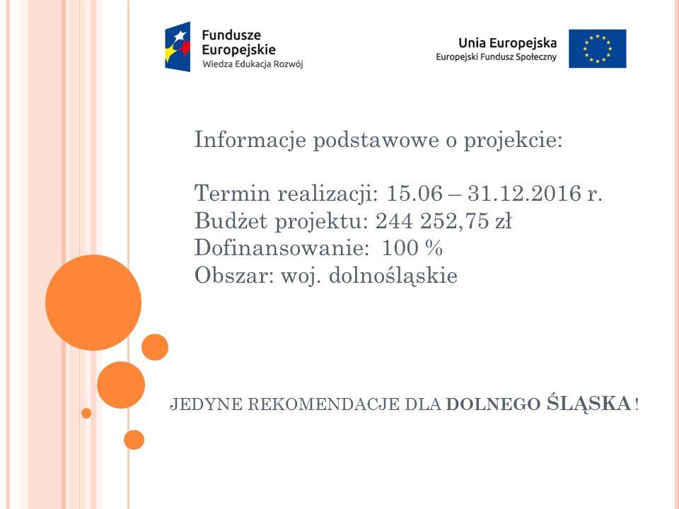 Informacje podstawowe o projekcie: Termin realizacji: 15.06 – 31.12.2016 r. Budżet projektu: 244 252,75 zł Dofinansowanie: 100 % Obszar: woj. dolnoślą