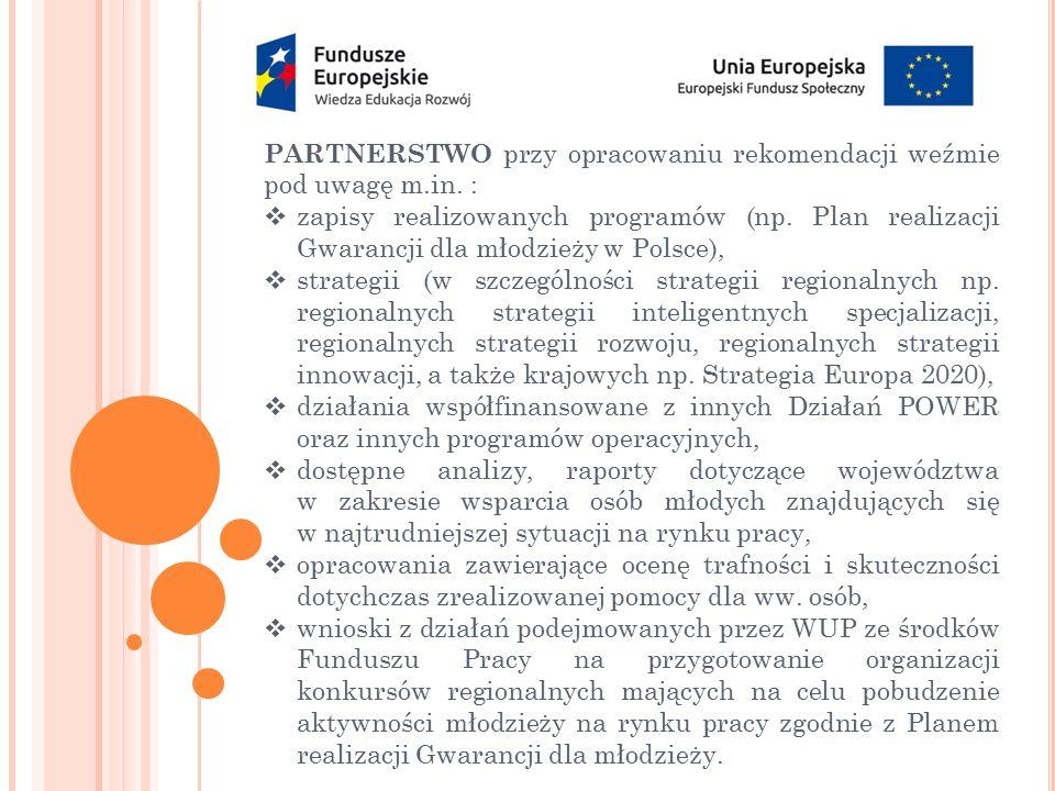 PARTNERSTWO przy opracowaniu rekomendacji weźmie pod uwagę m.in. :  zapisy realizowanych programów (np. Plan realizacji Gwarancji dla młodzieży w Pol