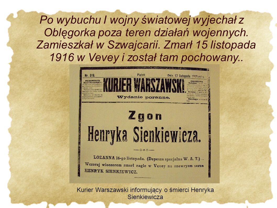 Po wybuchu I wojny światowej wyjechał z Oblęgorka poza teren działań wojennych.