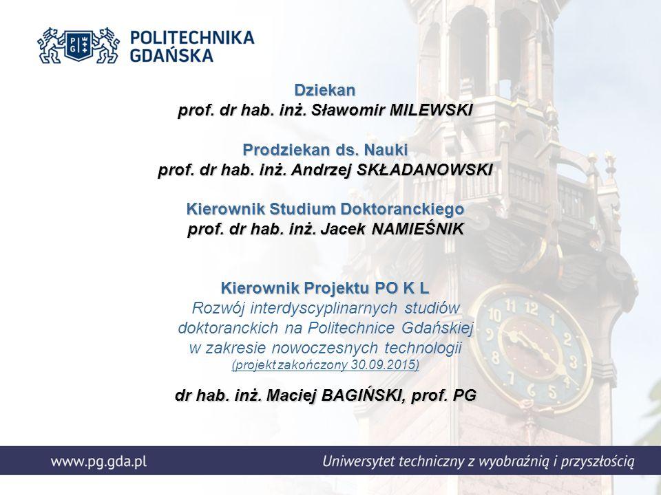 Dziekan prof. dr hab. inż. Sławomir MILEWSKI Prodziekan ds.