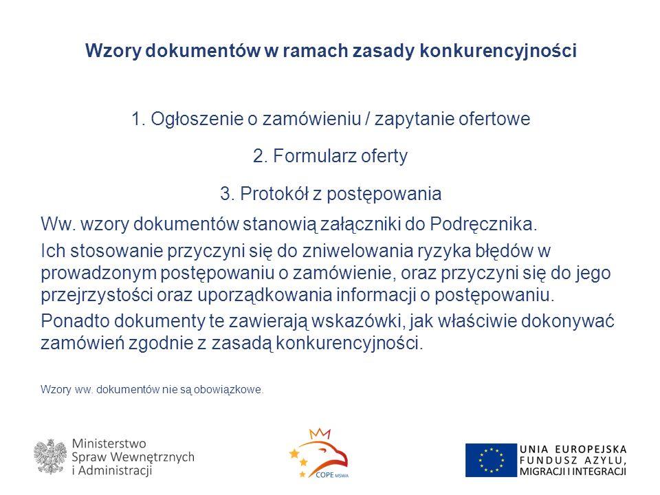 Wzory dokumentów w ramach zasady konkurencyjności 1.