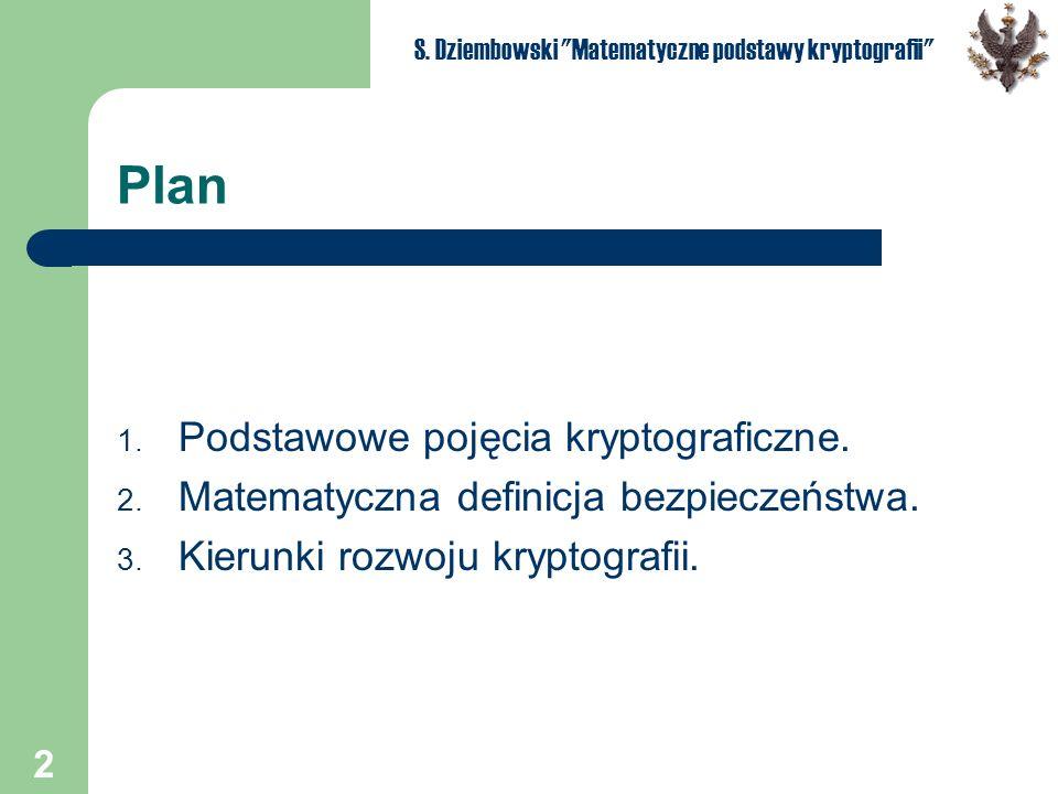 2 S. Dziembowski Matematyczne podstawy kryptografii Plan 1.
