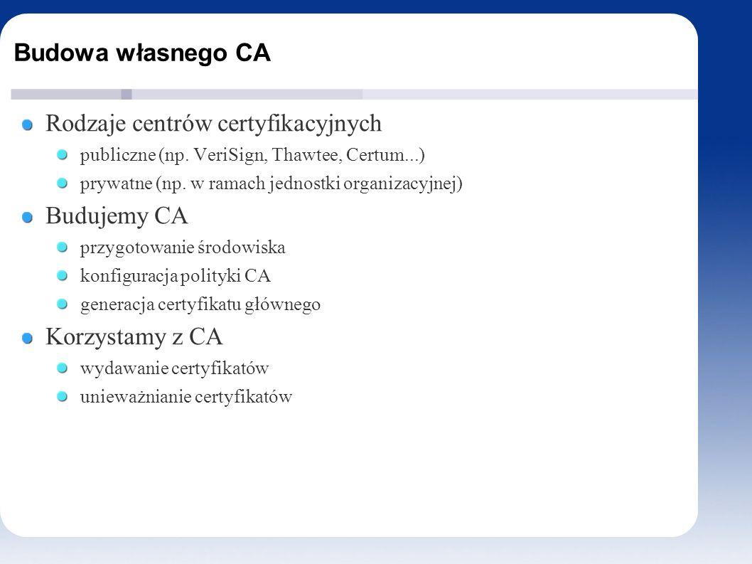 Budowa własnego CA Rodzaje centrów certyfikacyjnych publiczne (np.