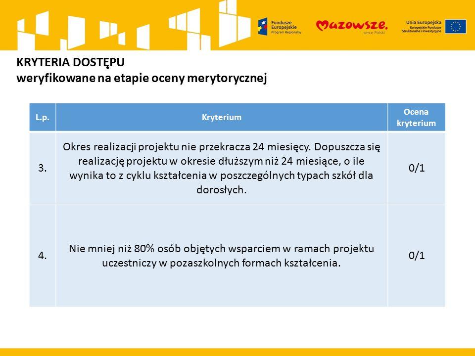L.p.Kryterium Ocena kryterium 3. Okres realizacji projektu nie przekracza 24 miesięcy.