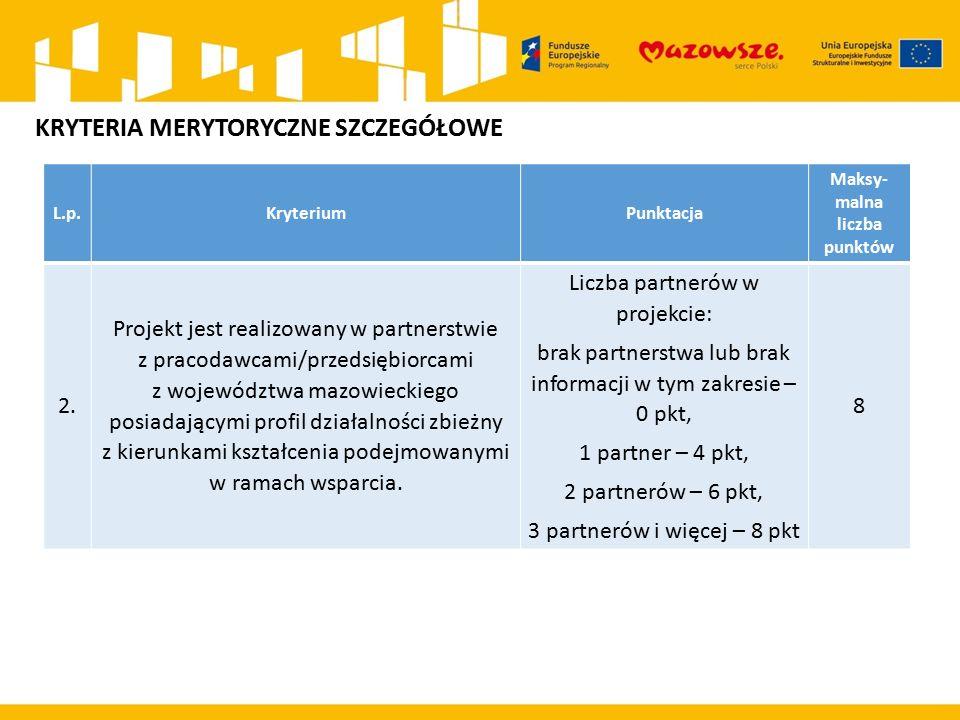 L.p.KryteriumPunktacja Maksy- malna liczba punktów 2.