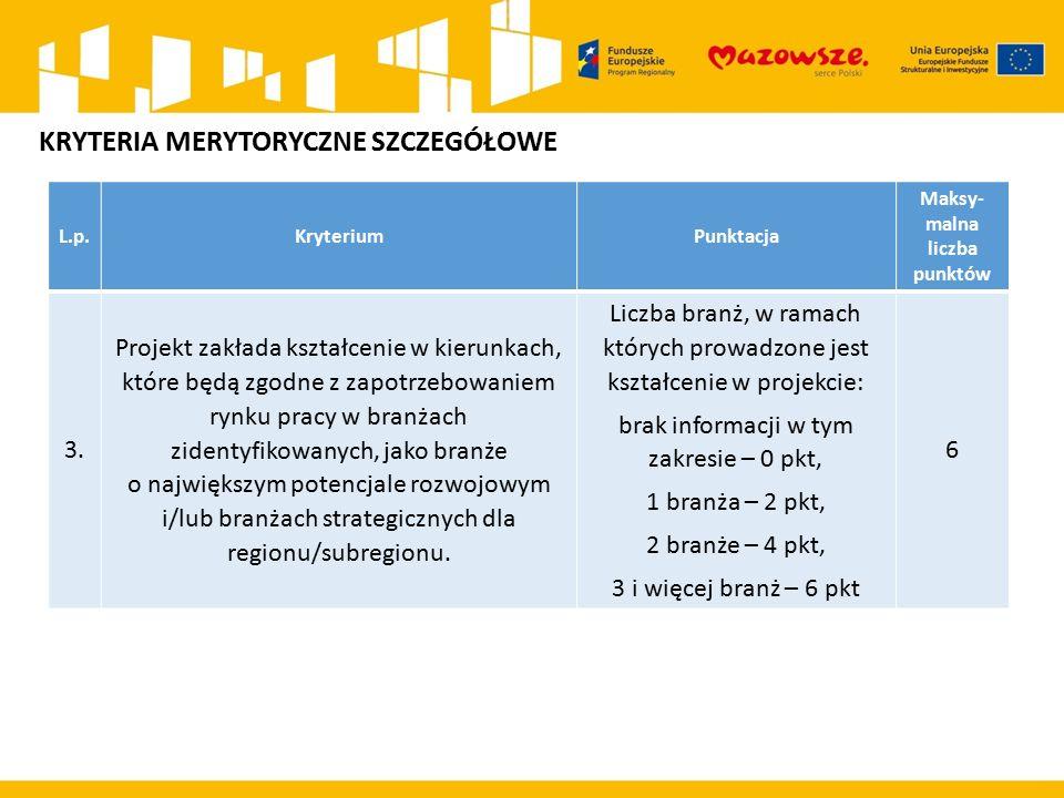 L.p.KryteriumPunktacja Maksy- malna liczba punktów 3.
