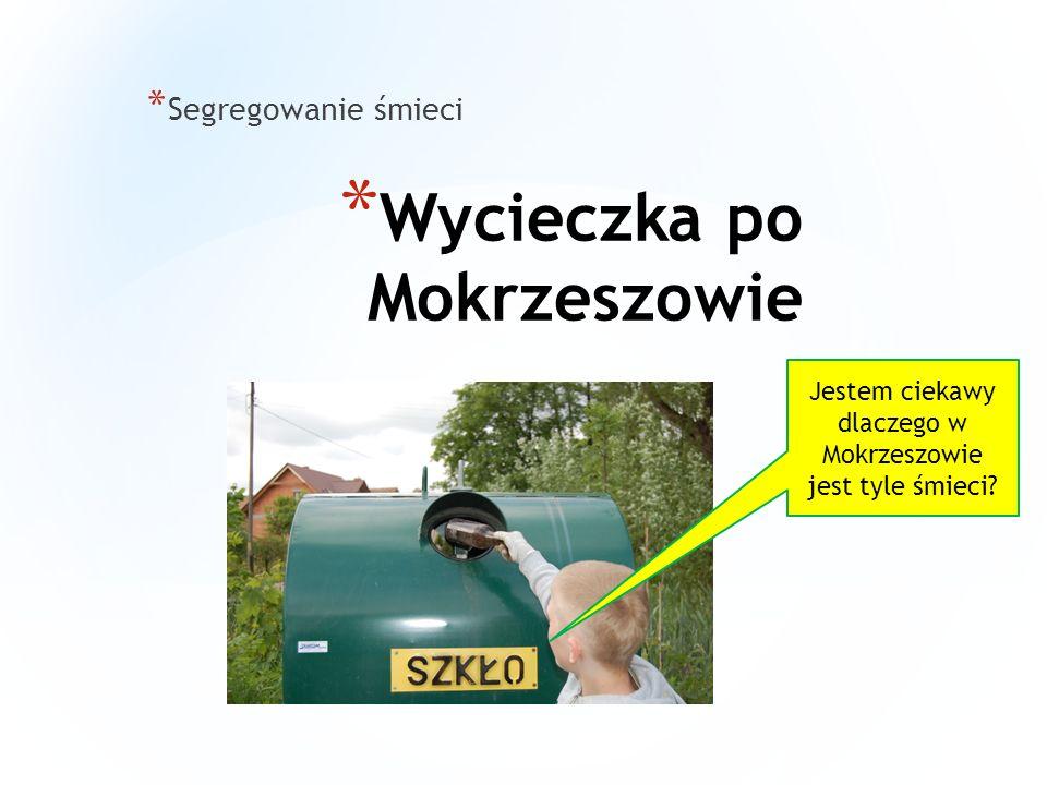 * Wycieczka po Mokrzeszowie * Segregowanie śmieci W Mokrzeszowie wielu mieszkańców zapomina o zachowaniu czystego środowiska.