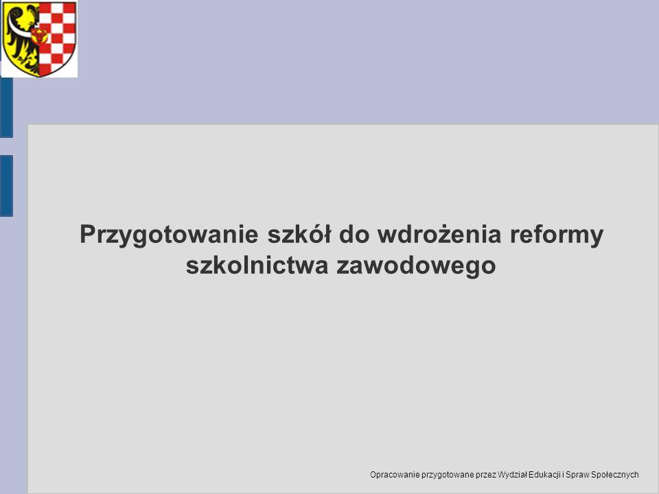 Przygotowanie szkół do wdrożenia reformy szkolnictwa zawodowego Opracowanie przygotowane przez Wydział Edukacji i Spraw Społecznych