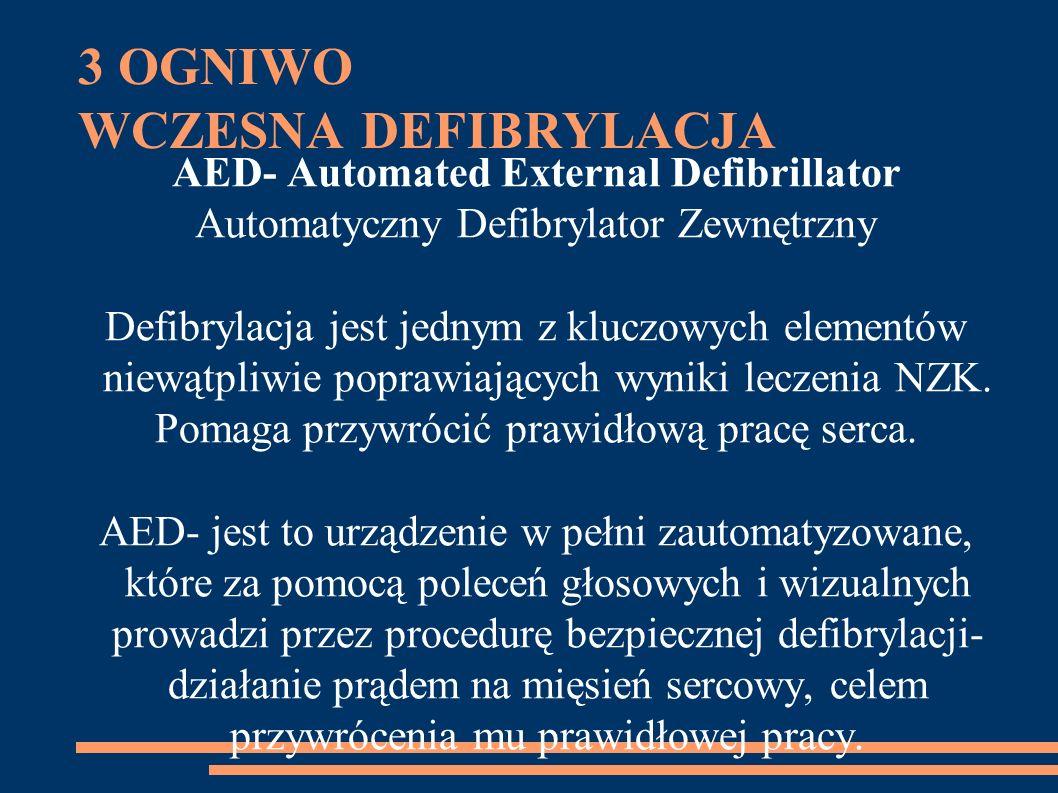 3 OGNIWO WCZESNA DEFIBRYLACJA AED- Automated External Defibrillator Automatyczny Defibrylator Zewnętrzny Defibrylacja jest jednym z kluczowych elementów niewątpliwie poprawiających wyniki leczenia NZK.