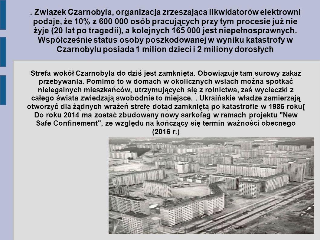 Związek Czarnobyla, organizacja zrzeszająca likwidatorów elektrowni podaje, że 10% z 600 000 osób pracujących przy tym procesie już nie żyje (20 lat po tragedii), a kolejnych 165 000 jest niepełnosprawnych.