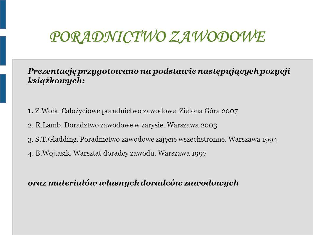 PORADNICTWO ZAWODOWE Prezentację przygotowano na podstawie następujących pozycji książkowych: 1. Z.Wołk. Całożyciowe poradnictwo zawodowe. Zielona Gór