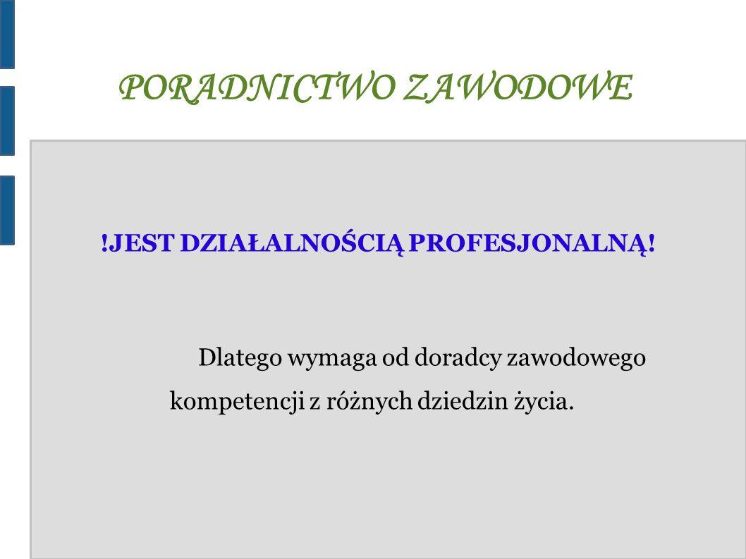 PORADNICTWO ZAWODOWE PROFESJONALNYCH DORADCÓW ZAWODOWYCH ZNAJDZIESZ MIĘDZY INNYMI W: 1)urzędach pracy 2)poradniach psychologiczno-pedagogicznych 3)centrach informacji i planowania kariery zawodowej 4)akademickich biurach karier 5)szkołach