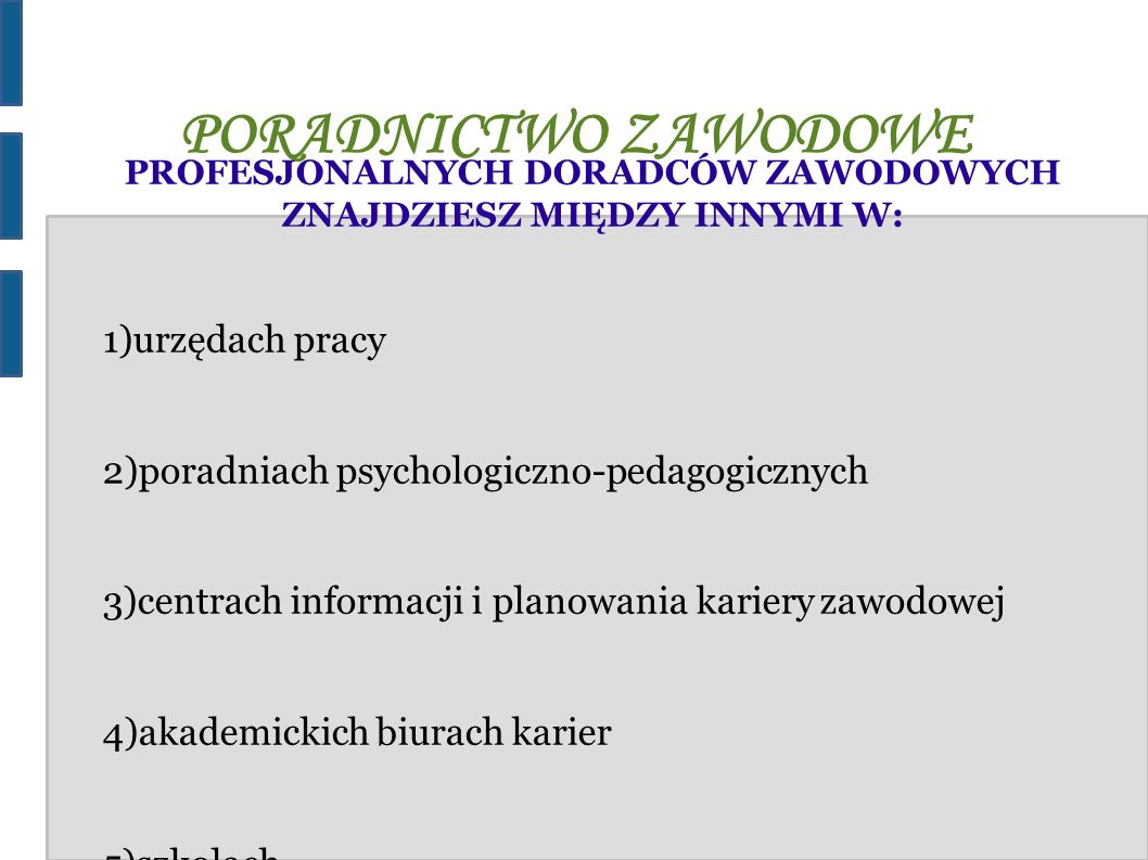 PORADNICTWO ZAWODOWE PROFESJONALNYCH DORADCÓW ZAWODOWYCH ZNAJDZIESZ MIĘDZY INNYMI W: 1)urzędach pracy 2)poradniach psychologiczno-pedagogicznych 3)cen