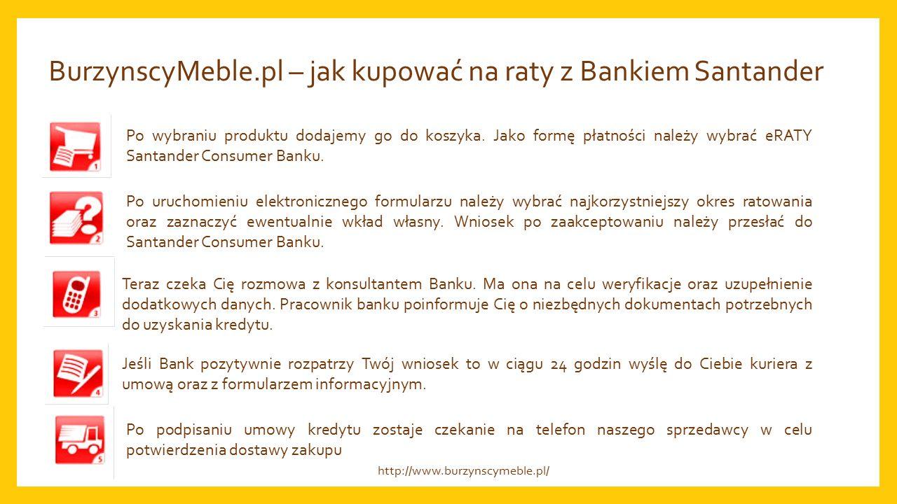 BurzynscyMeble.pl – jak kupować na raty z Bankiem Santander Po wybraniu produktu dodajemy go do koszyka.