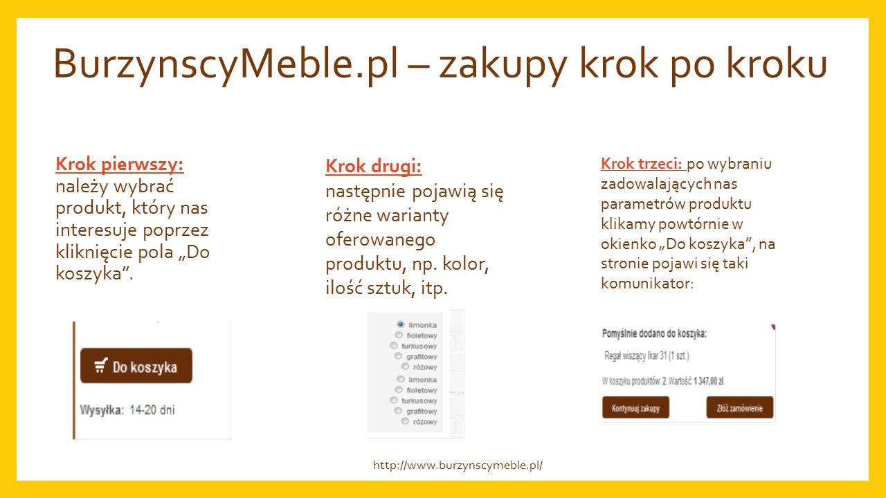 """BurzynscyMeble.pl – zakupy krok po kroku Krok pierwszy: należy wybrać produkt, który nas interesuje poprzez kliknięcie pola """"Do koszyka ."""