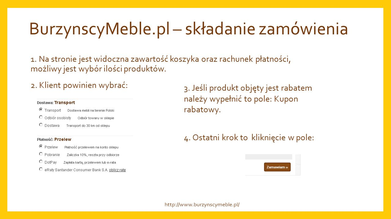 BurzynscyMeble.pl – składanie zamówienia 1.