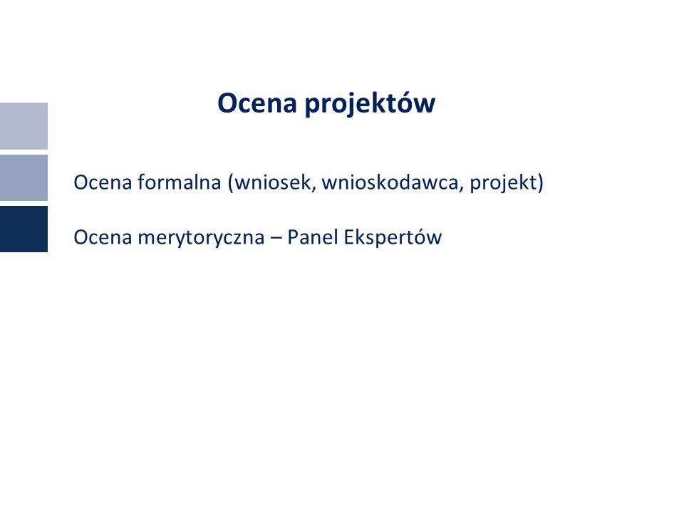 Ocena projektów Ocena formalna (wniosek, wnioskodawca, projekt) Ocena merytoryczna – Panel Ekspertów