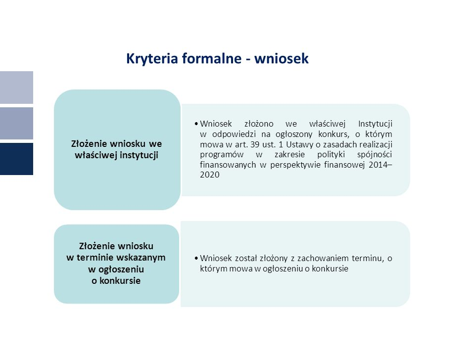 Kryteria formalne - wniosek Wniosek złożono we właściwej Instytucji w odpowiedzi na ogłoszony konkurs, o którym mowa w art.