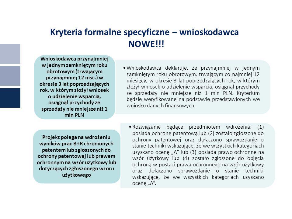 Kryteria formalne specyficzne – wnioskodawca NOWE!!.