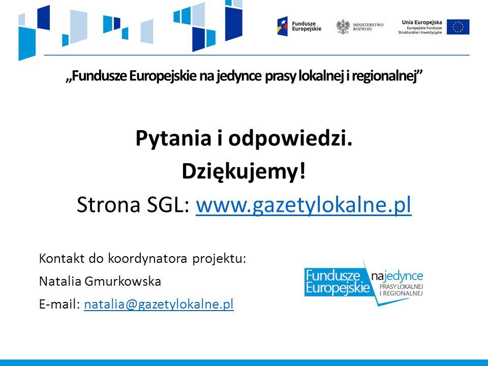 """""""Fundusze Europejskie na jedynce prasy lokalnej i regionalnej Pytania i odpowiedzi."""