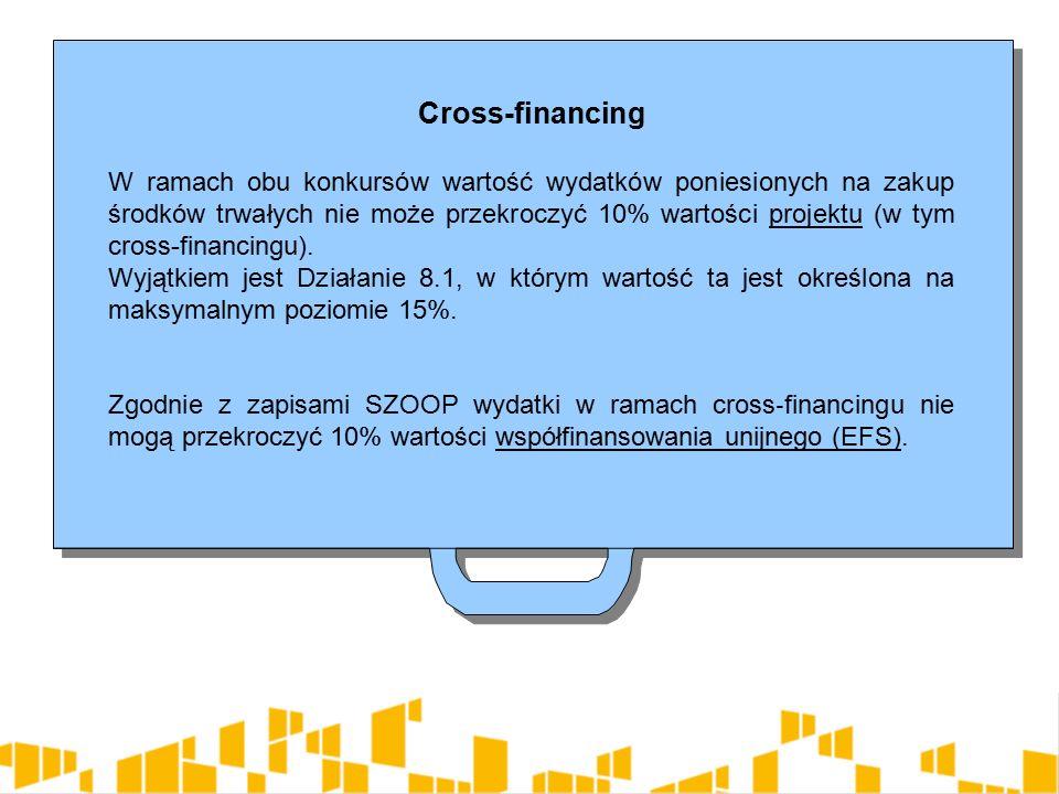 Cross-financing W ramach obu konkursów wartość wydatków poniesionych na zakup środków trwałych nie może przekroczyć 10% wartości projektu (w tym cross-financingu).