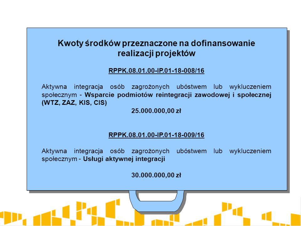 Kwoty środków przeznaczone na dofinansowanie realizacji projektów RPPK.08.01.00-IP.01-18-008/16 Aktywna integracja osób zagrożonych ubóstwem lub wykluczeniem społecznym - Wsparcie podmiotów reintegracji zawodowej i społecznej (WTZ, ZAZ, KIS, CIS) 25.000.000,00 zł RPPK.08.01.00-IP.01-18-009/16 Aktywna integracja osób zagrożonych ubóstwem lub wykluczeniem społecznym - Usługi aktywnej integracji 30.000.000,00 zł Kwoty środków przeznaczone na dofinansowanie realizacji projektów RPPK.08.01.00-IP.01-18-008/16 Aktywna integracja osób zagrożonych ubóstwem lub wykluczeniem społecznym - Wsparcie podmiotów reintegracji zawodowej i społecznej (WTZ, ZAZ, KIS, CIS) 25.000.000,00 zł RPPK.08.01.00-IP.01-18-009/16 Aktywna integracja osób zagrożonych ubóstwem lub wykluczeniem społecznym - Usługi aktywnej integracji 30.000.000,00 zł