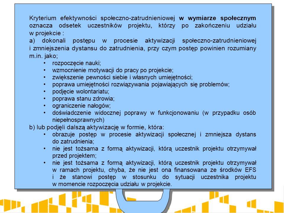 Kryterium efektywności społeczno-zatrudnieniowej w wymiarze społecznym oznacza odsetek uczestników projektu, którzy po zakończeniu udziału w projekcie : a) dokonali postępu w procesie aktywizacji społeczno-zatrudnieniowej i zmniejszenia dystansu do zatrudnienia, przy czym postęp powinien rozumiany m.in.