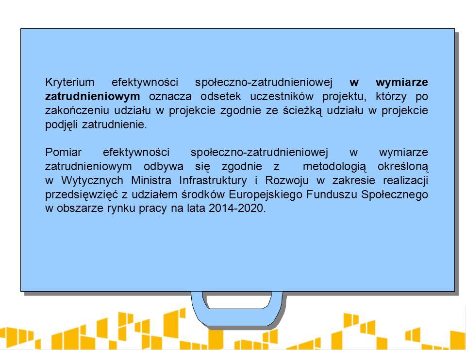 Kryterium efektywności społeczno-zatrudnieniowej w wymiarze zatrudnieniowym oznacza odsetek uczestników projektu, którzy po zakończeniu udziału w projekcie zgodnie ze ścieżką udziału w projekcie podjęli zatrudnienie.