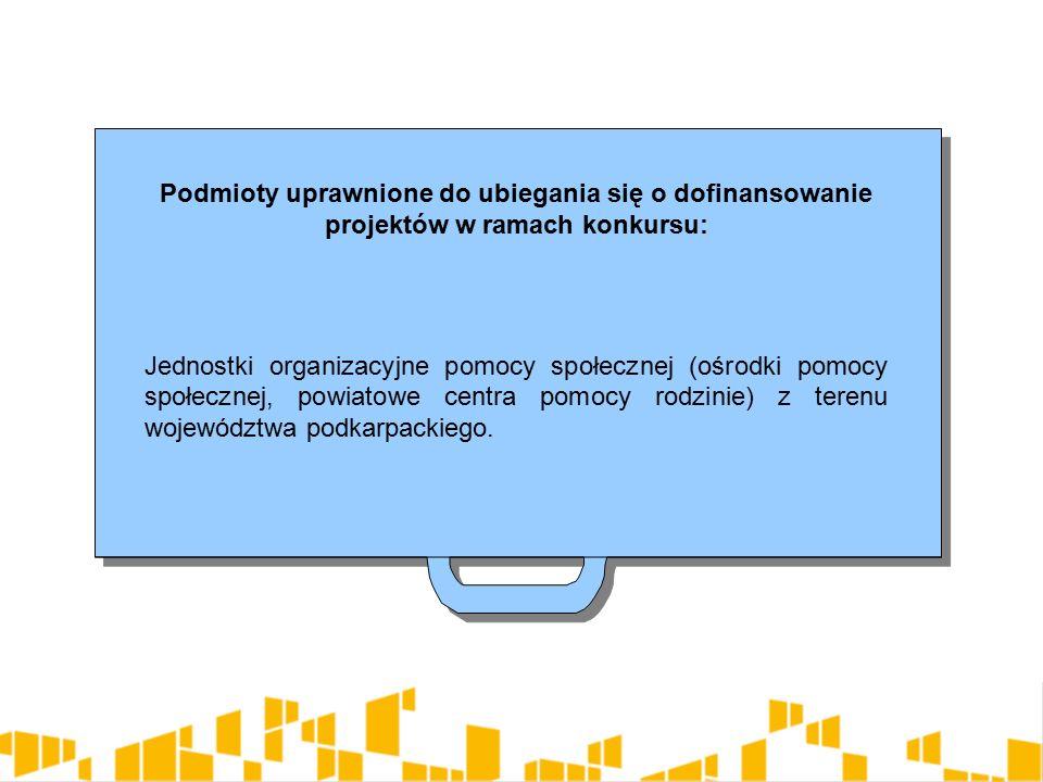 Podmioty uprawnione do ubiegania się o dofinansowanie projektów w ramach konkursu: Jednostki organizacyjne pomocy społecznej (ośrodki pomocy społecznej, powiatowe centra pomocy rodzinie) z terenu województwa podkarpackiego.
