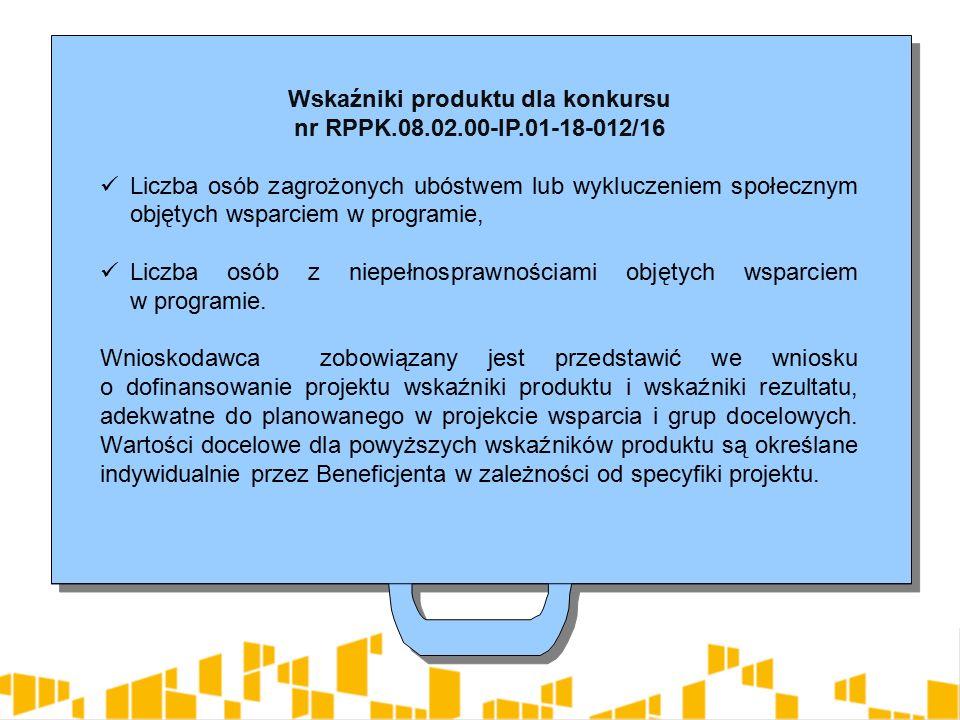 Wskaźniki produktu dla konkursu nr RPPK.08.02.00-IP.01-18-012/16 Liczba osób zagrożonych ubóstwem lub wykluczeniem społecznym objętych wsparciem w programie, Liczba osób z niepełnosprawnościami objętych wsparciem w programie.
