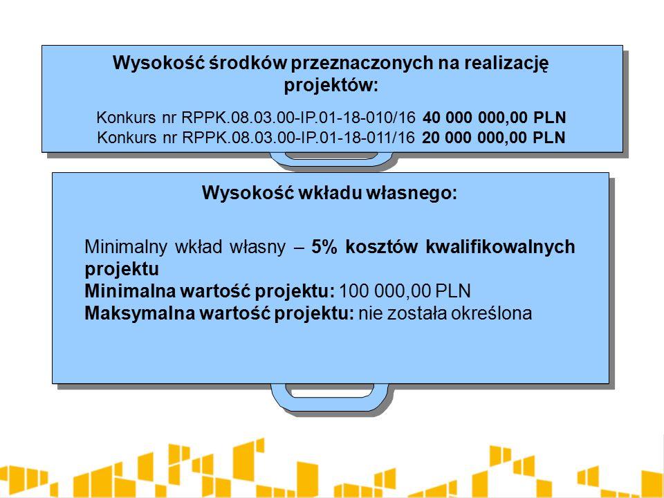 Wysokość środków przeznaczonych na realizację projektów: Konkurs nr RPPK.08.03.00-IP.01-18-010/16 40 000 000,00 PLN Konkurs nr RPPK.08.03.00-IP.01-18-011/16 20 000 000,00 PLN Wysokość środków przeznaczonych na realizację projektów: Konkurs nr RPPK.08.03.00-IP.01-18-010/16 40 000 000,00 PLN Konkurs nr RPPK.08.03.00-IP.01-18-011/16 20 000 000,00 PLN Wysokość wkładu własnego: Minimalny wkład własny – 5% kosztów kwalifikowalnych projektu Minimalna wartość projektu: 100 000,00 PLN Maksymalna wartość projektu: nie została określona Wysokość wkładu własnego: Minimalny wkład własny – 5% kosztów kwalifikowalnych projektu Minimalna wartość projektu: 100 000,00 PLN Maksymalna wartość projektu: nie została określona