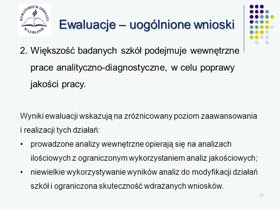 10 Ewaluacje – uogólnione wnioski 2.Większość badanych szkół podejmuje wewnętrzne prace analityczno-diagnostyczne, w celu poprawy jakości pracy.